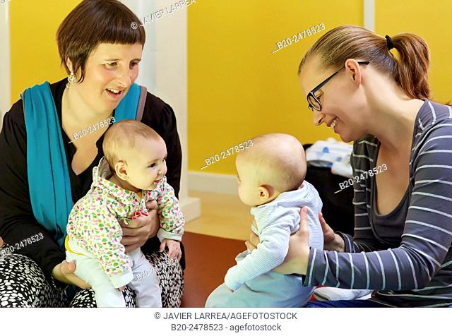 Mothers with babies at breastfeeding education program