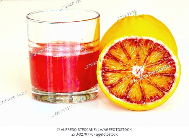 The glass with Sicilian red orange juice