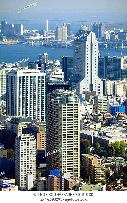 Japan, Tokyo, harbor, skyline, general aerial view,