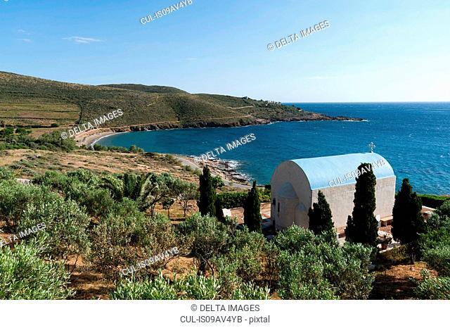 Orthodox chapel overlooking the sea, Syros, Cyclades Islands, Aegean sea, Greece