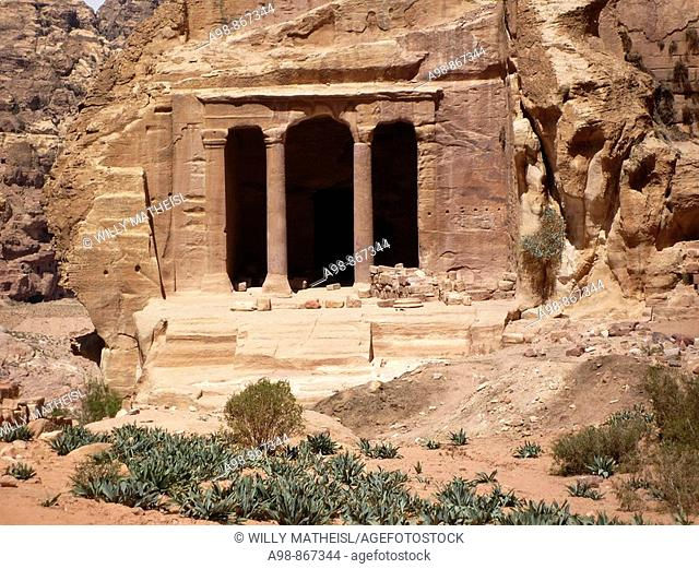 Outside view of the Garden Temple in Wadi Farasa at UNESCO World Heritage Site of the ancient Nabataean rock city of Petra in the Hashemite Kingdom of Jordan