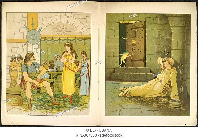 The Marsh King's daughter. A monk in a cell. A frog opens the door. Image taken from Dynd-Kongens Datter. The Marsh King's Daughter Illustrated by Jessie Currie