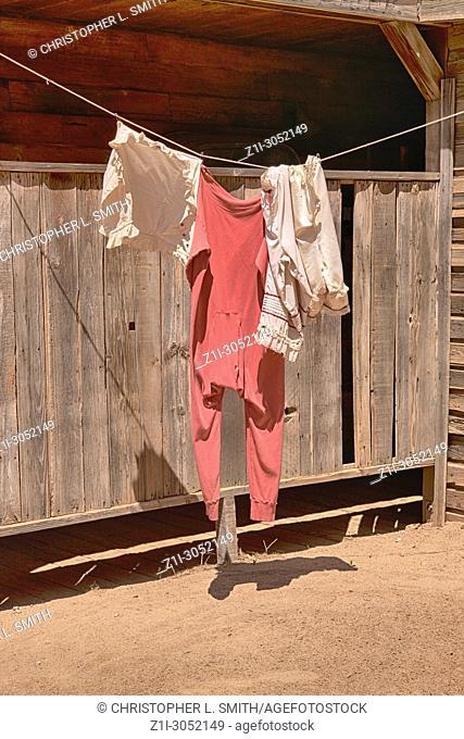 The Bath House where Dean Martin's underwear hangs from the movie El Dorado at the Old Tucson Film Studios amusement park in Arizona