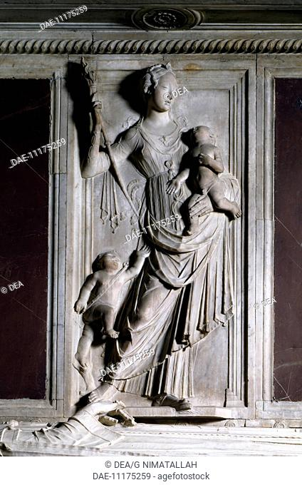 Relief depicting Charity, detail from Count Ugo's tomb, by Mino da Fiesole (1429-1484), Badia Fiorentina, Florence. Italy, 15th century