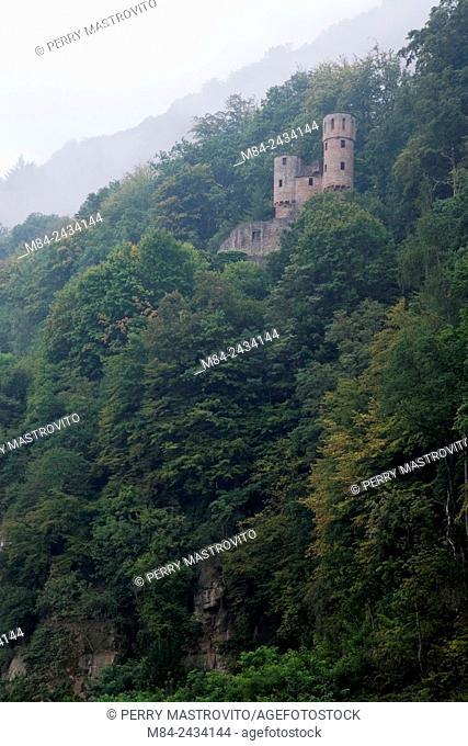 Medieval castle on a mountainside near Meinbach village, Germany