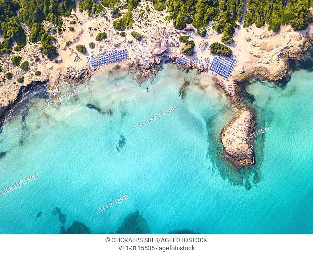 Punta della Suina Beach aerial view, Lecce province, Apulia, Salento, Italy, Europe