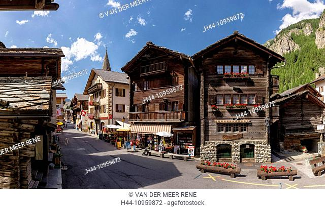 Ancient, old, wooden, houses, chalets, Route Principale, town, village, summer, mountains, hills, Evolene, Val d'Herens, Wallis, Valais, Switzerland, Europe