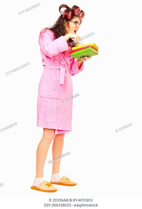 Angry mother with books isolated