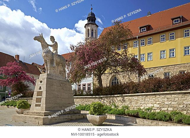 Municipal Museum in the Augustinian monastery with equestrian statue in Bad Langensalza, Thuringia, Germany, Europe
