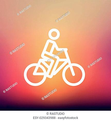 Racing bike icon thin line for web and mobile, modern minimalistic flat design. Vector white icon on gradient mesh background