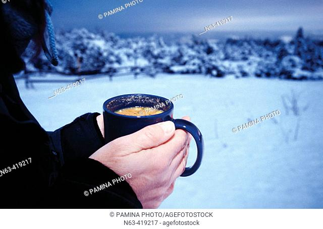 Cold hands around a hot cup of soup, Black Forest, Germany