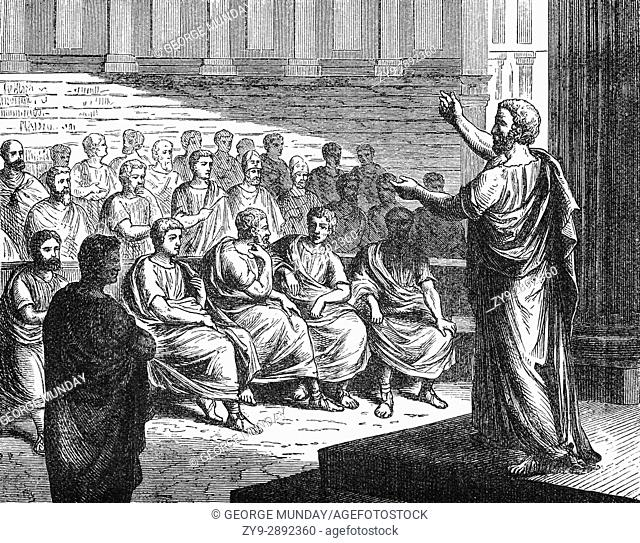 A meeting of the Athenian Council aka Boule, in 594. Each of 10 tribes provided 50 councillors who were at least 30 years old