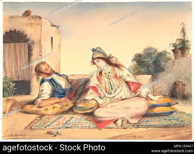 A Moorish Couple on Their Terrace. Artist: Eugène Delacroix (French, Charenton-Saint-Maurice 1798-1863 Paris); Date: 1832; Medium: Watercolor over traces of...