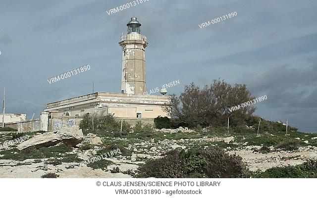 Lighthouse building. Filmed on Lampedusa island, Italy