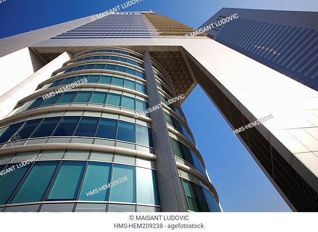 United Arab Emirates, Dubai, Sheikh Zayed Road, Emirates Towers 2000 with the Emirates Tower Two in the foreground