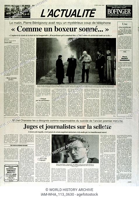 Cover of the French publication 'L'Actualite' after the suicide of Pierre Beregovoy, May 1993. Pierre Eugene Beregovoy (1925 - 1 May 1993) was a French...