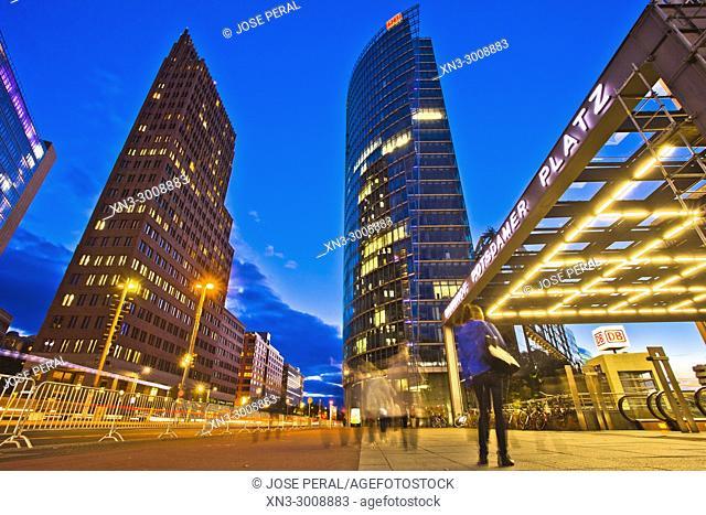 Bahnhof Potsdamer Platz, railway station, Kollhoff Tower, Bahn Tower, Sony Center, Potsdam Square, Potsdamer Platz, Tiergarten district, Mitte, Berlin, Germany