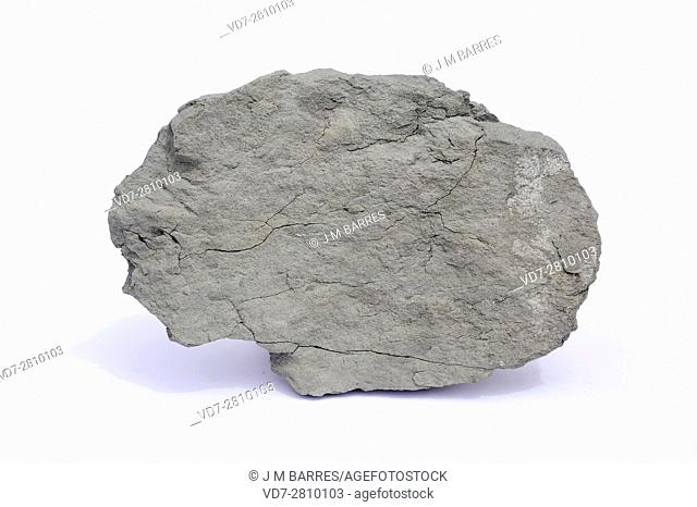 Marl or marlstone is a sedimentary rock composed of limestone (calcium carbonate) and clay (mudstone). This sample comes from Tona, Barcelona, Catalonia, Spain
