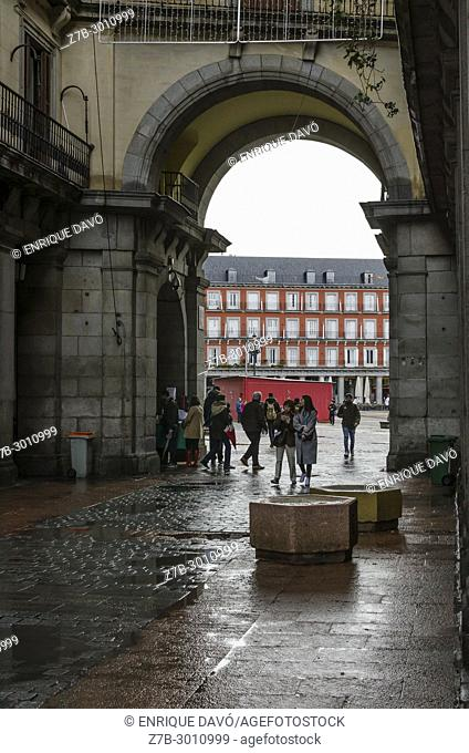 Entrance view of Mayor square in a rainy day, Madrid city, Spain