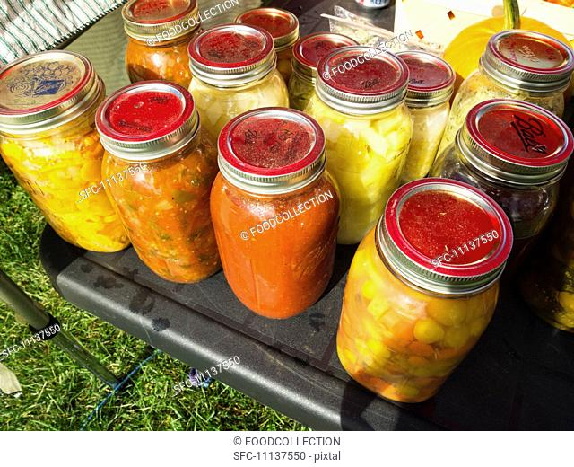 Canned Foods at a Farmer's Market in Morrisville, Vermont