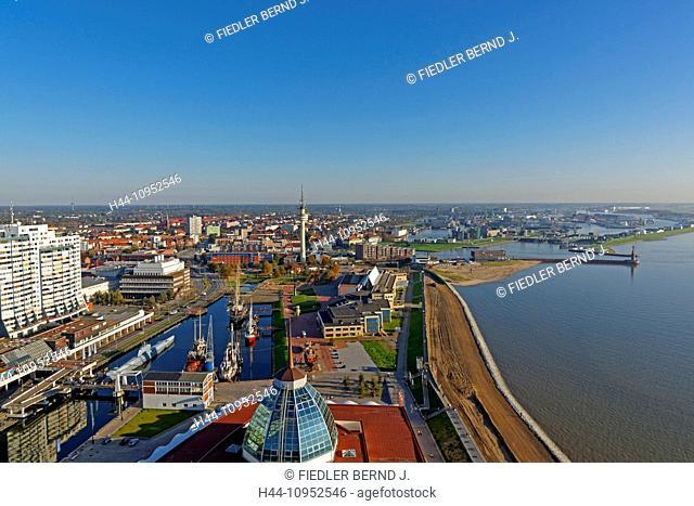 Europe, Germany, Bremen, Bremerhaven, am Strom, Weser, old harbour, port, Columbus centre, Mediterraneo, German, ship journey museum, Alfred Wegener institute