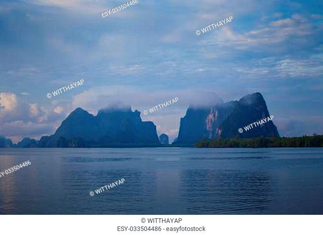 Beautiful tropical sea and mountain in Thailand