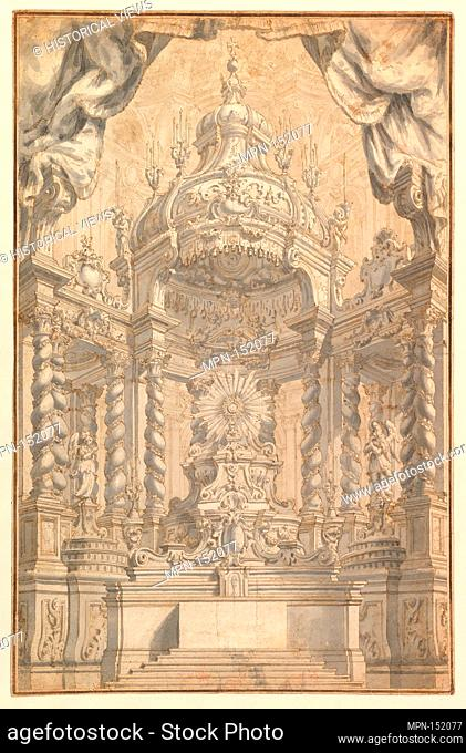 Design for Altar Decorations for a Liturgical Celebration. Artist: Anonymous, Italian, Piedmontese, 18th century; Date: 1750-75; Medium: Pen and brown ink