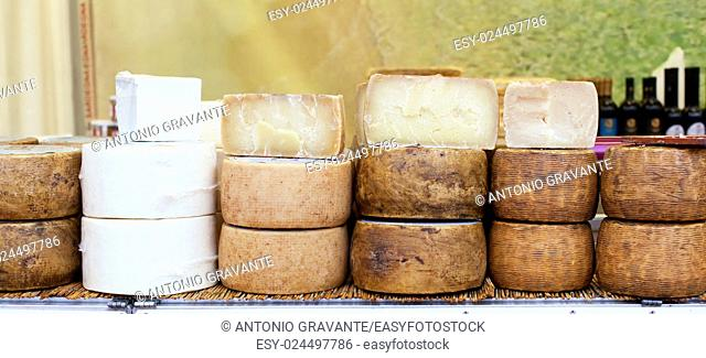 Various types of Italian cheeses for sale