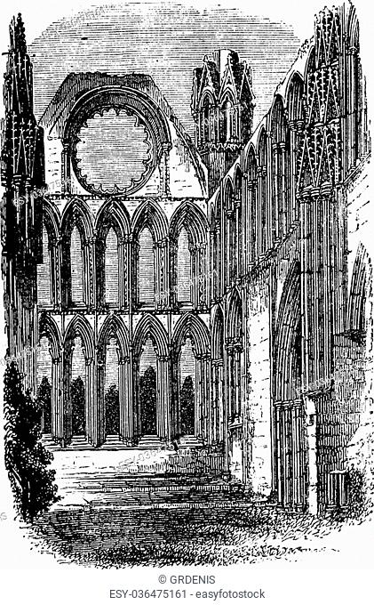 Elgin Cathedral in Moray, Scotland, during the 1890s, vintage engraving. Old engraved illustration of Elgin Cathedral