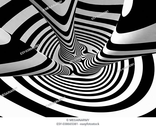 Black and White Stripes Projection on 3D Torus