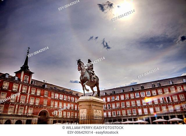 Plaza Mayor Built in the 1617 Famous Square Cityscape Madrid Spain. King Philip III Equestrian Statue, created in 1616 by Sculptors Gambologna and Pietro Tacca