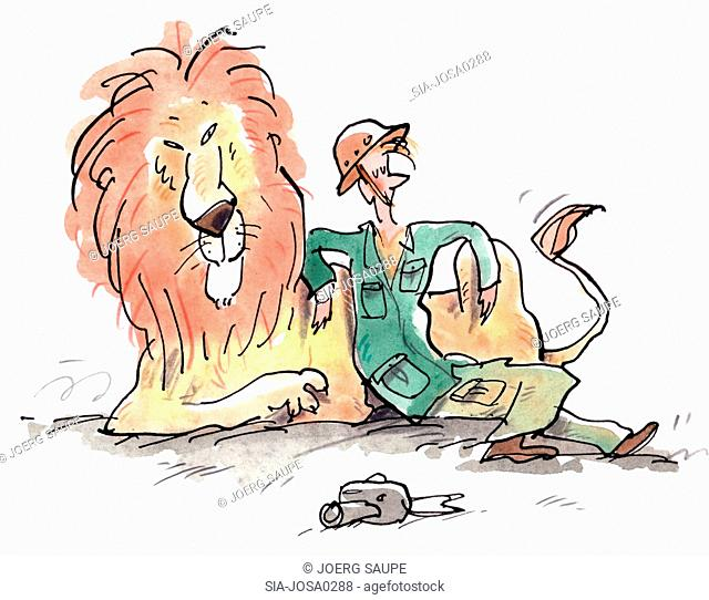 Man lying down with lion