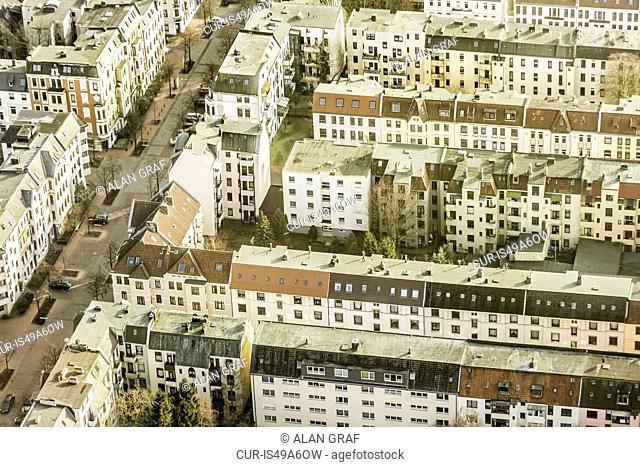 Aerial view of apartment blocks, Bremerhaven, Bremen, Germany