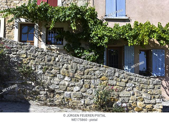 lane and house facade with vine, village Bédoin, Provence, France