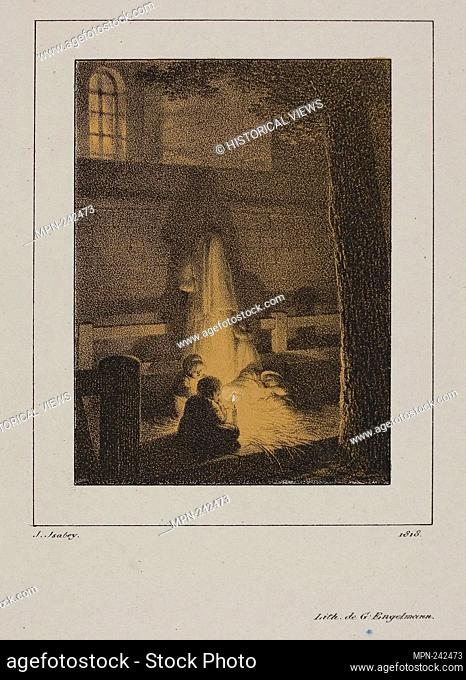 Group of Children Around a Candle - 1818 - Jean Baptiste Isabey (French, 1767-1855) printed by Gottfried Engelmann (French