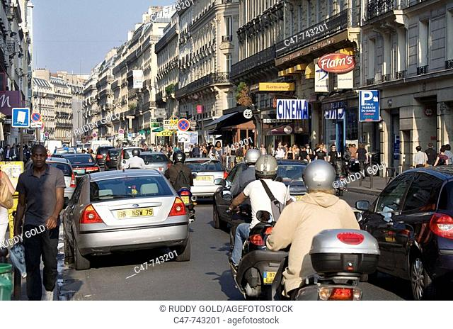Traffic in Rue Saint-Lazare, Paris, France