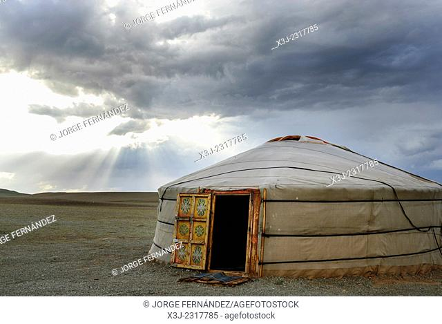 Yurt after a storm in the Gobi desert, Mongolia