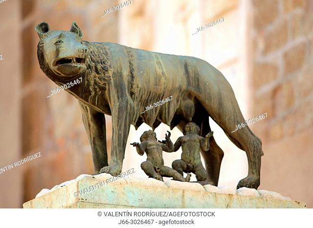 Sculpture of the capitoline she-wolfe of the legend of Romulus and remus in the Piazza Campidoglio. Rome. Italy