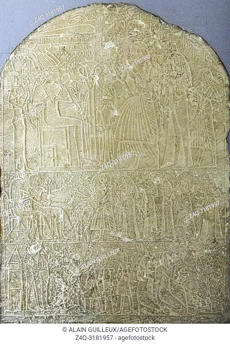 Egypt, Cairo, Egyptian Museum, stele of Amenemhab, found in Luxor temple. Offers for Osiris and Hathor, goddess of the West, offers for the couple
