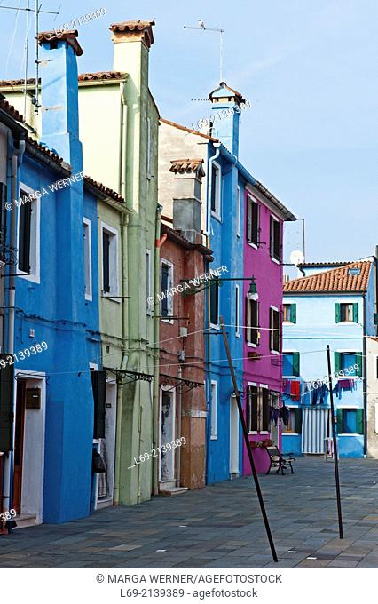 Colorful houses on island Burano, Venice, Italy,