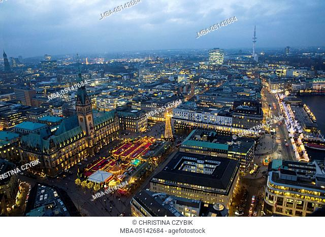 View on Christmas Lights from the tower of the St. Petri Church in Hamburg, Germany