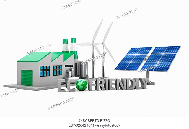 Ecofriendly concept. .Green factory, wind turbines and solar panel isolated on white background