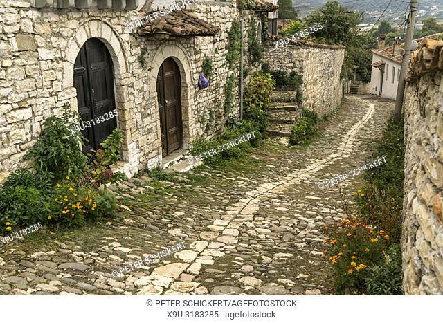 cobble stone street with Ottoman Architecture, Berat, Albania, Europe