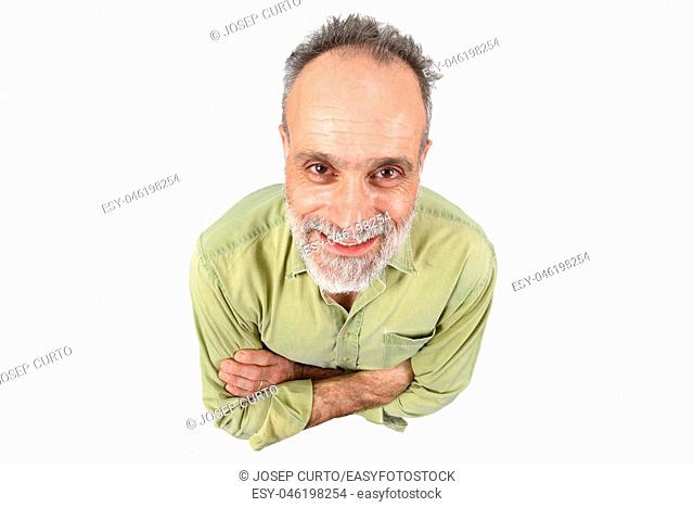 man with arms crossed on white background