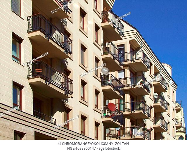 Apartment Building Architecture with Balconies and Satellite Dishes, Budapest, Hungary, Europe