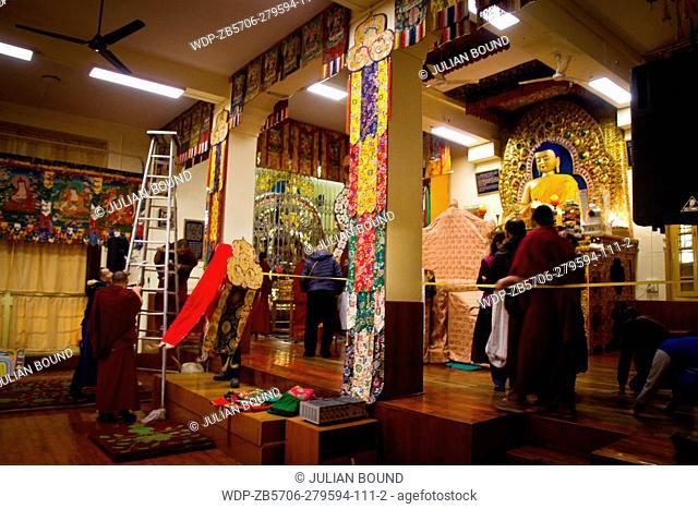 Buddhist monks and nuns celebrate Losar, the Tibetan New Year at the Dalai Lama temple, McLeod Ganj, India