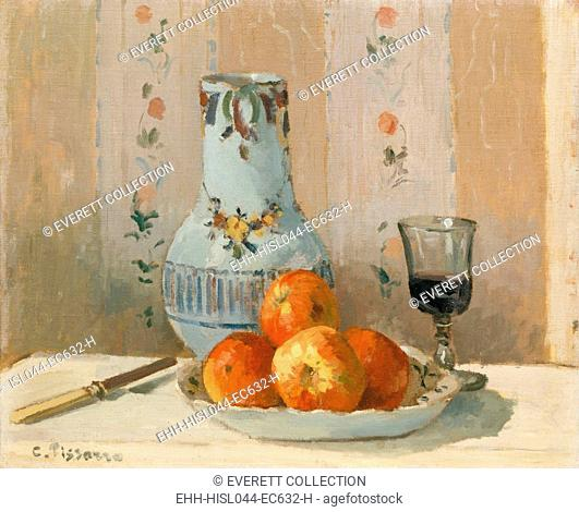Still Life with Apples and Pitcher, by Camille Pissarro, 1872, French impressionist oil painting. This is a rare Pissarro still life painting from the artists...