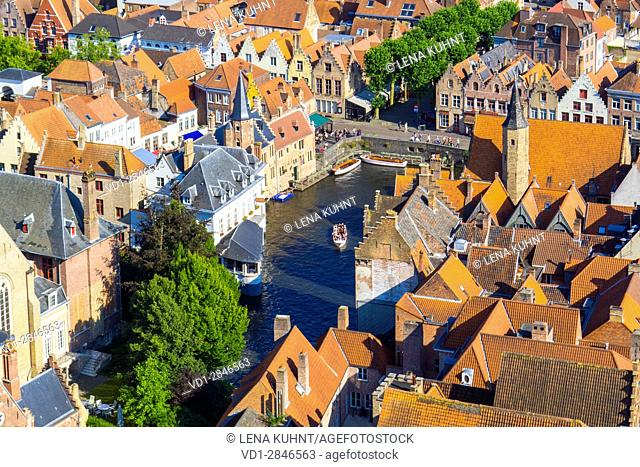 Belgium, West Flanders (Vlaanderen), Bruges (Brugge). High-angle view of Bruges, buildings near the Dijver canal, view from the Belfort belltower