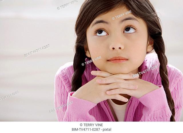 Close up of young Hispanic girl