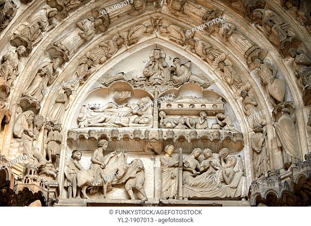 South Porch, Right Portal, Tympanum- General View This portal is dedicated to the Confessors  Cathedral of Chartres, France  Tympanum and Lintel: Miracles by...